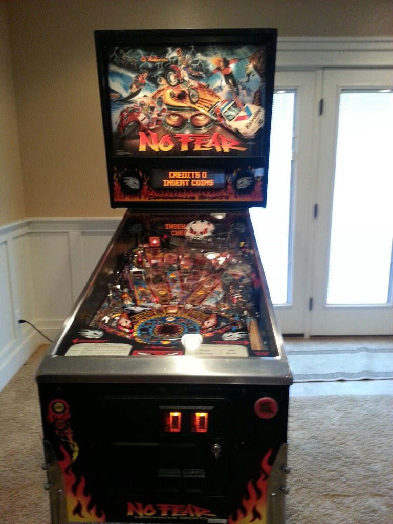 No Fear Pinball machine players view