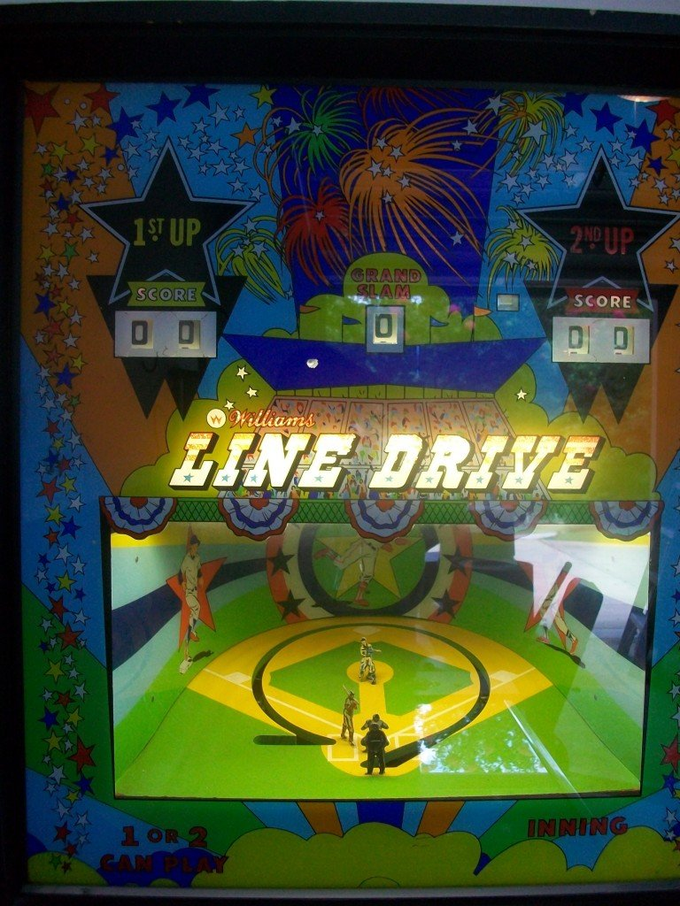 line drive pitch and bat pinball with animated backglass