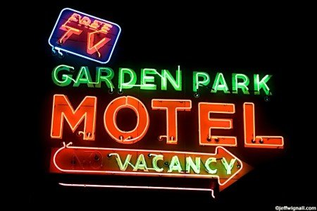 Neon motel sign showing vacancy.