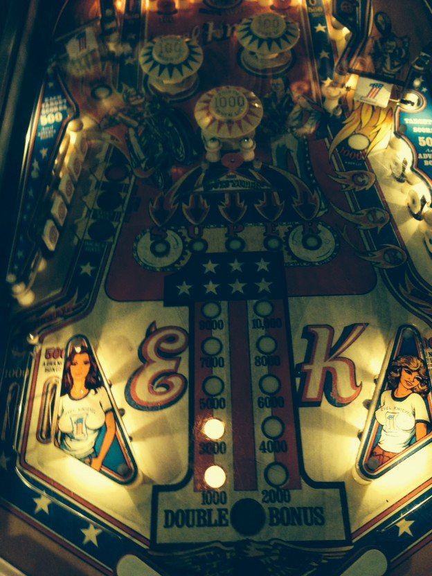 Full playfield of Evel Knievel pinball machine.