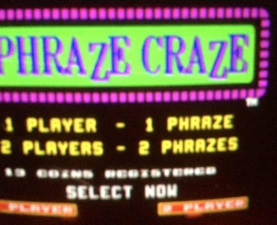 phraze craze video arcade game.