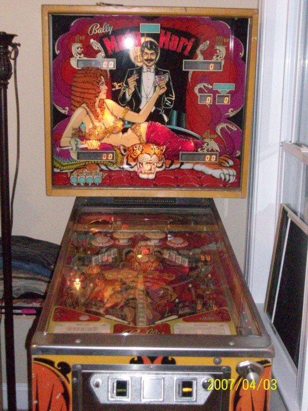 Backglass of Mati Hari pinball machine for sale in Zebulon NC