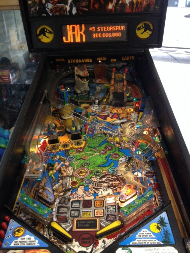 Playfield of Jurassic Park pinball machine for sale in Madera CA