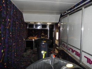 Inside view of trailer and CyberMind virtual reality game SU 2000 cyberbase Intercon-x